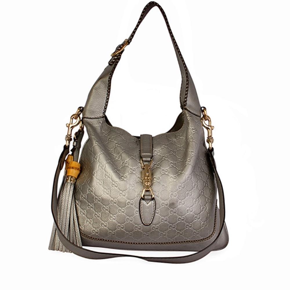 f2b0c625ea50 GUCCI Guccissima Jackie Hobo Medium Silver | Luxity