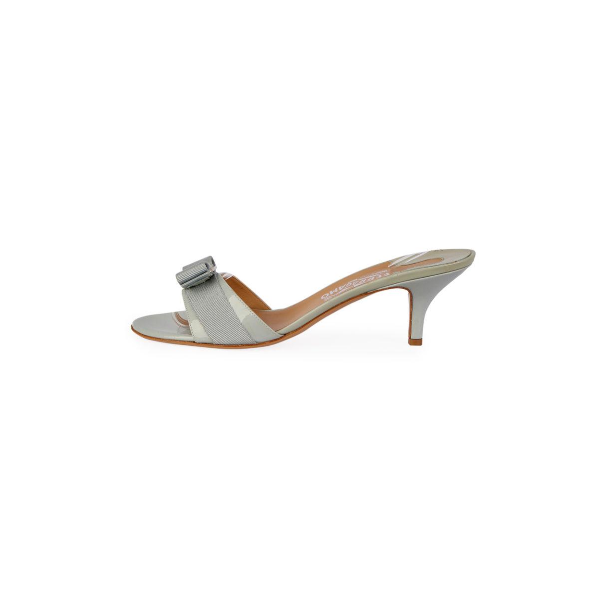 aa78aa8299 SALVATORE FERRAGAMO Patent Glory Kitten Heel Sandals Light Blue – S ...