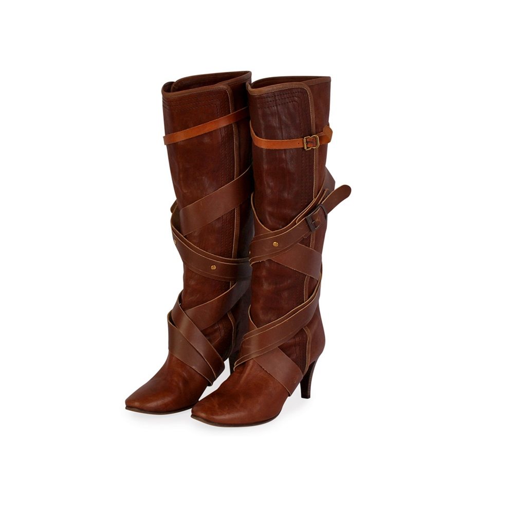 1d72899d798 CHLOE Leather Cross Straps Boots Brown – S: 37 (4)