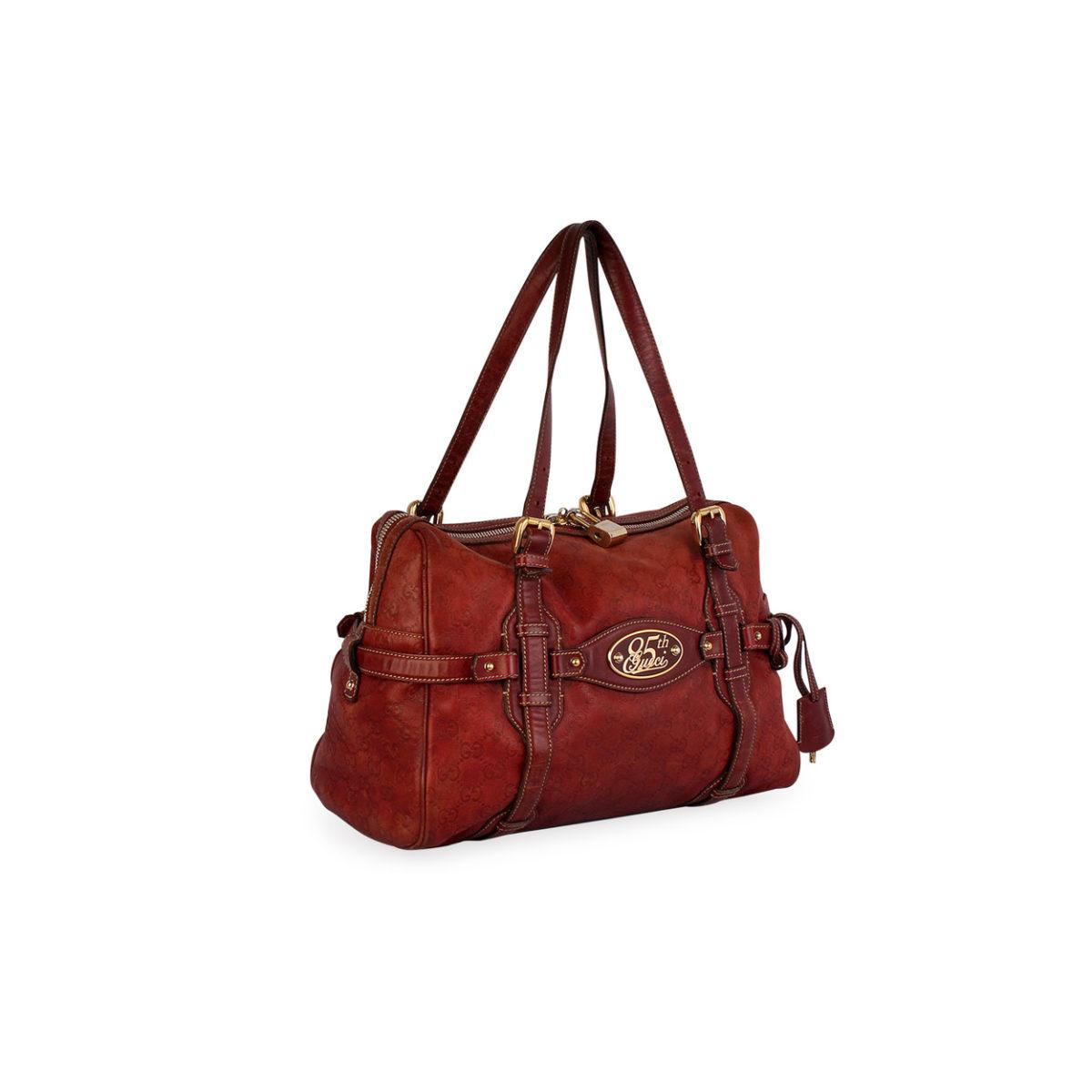 5ee239d2e7d3 GUCCI Guccissima 85th Anniversary Medium Boston Bag Brown – Limited Edition