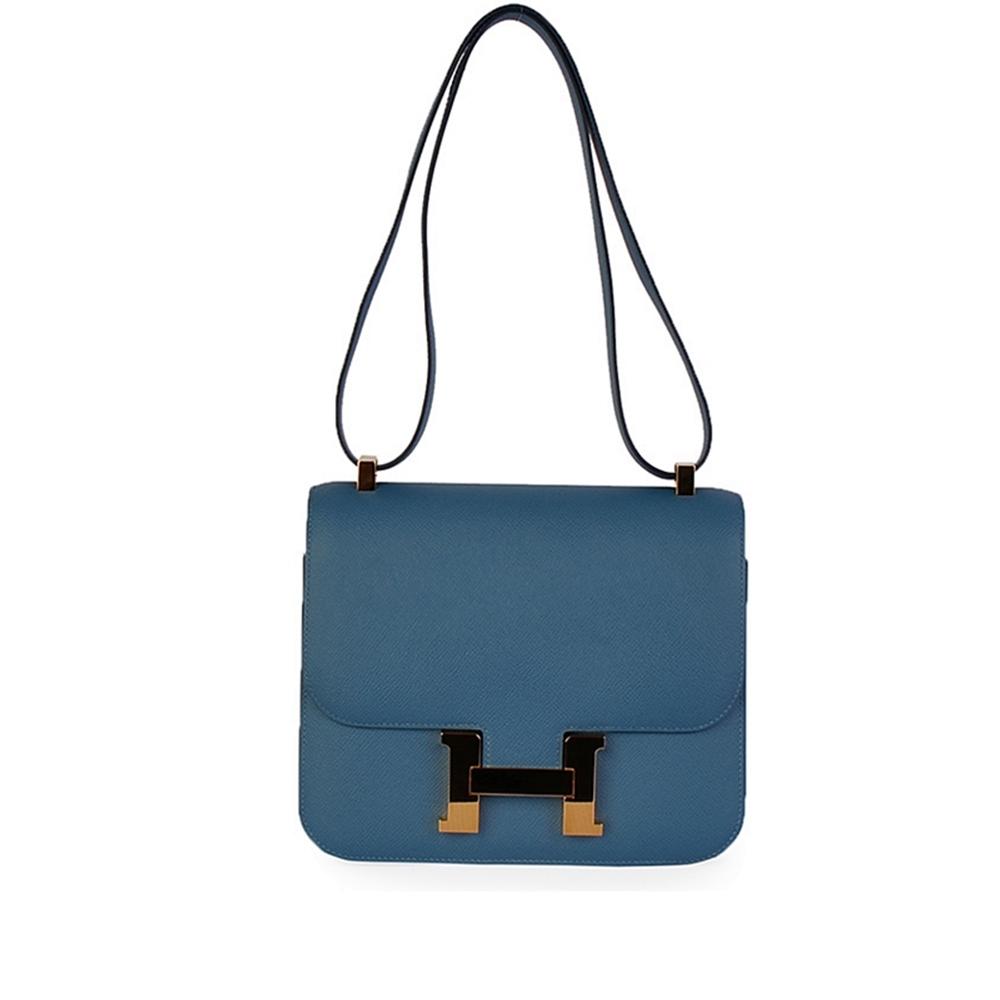 HERMES Epsom Leather Constance 24 cm Blue Azur - New  74392d6873e0