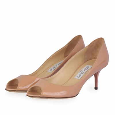 ed201492e86 JIMMY CHOO Isabel Patent Peep Toe Pumps Nude – S  37 (4) – New