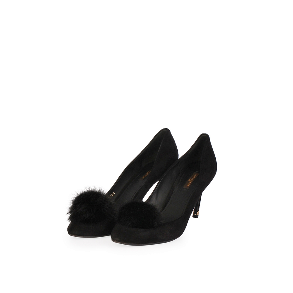 real deal low price meticulous dyeing processes LOUIS VUITTON Suede Frill Fur Pom Pumps Black - S: 41 (7.5)