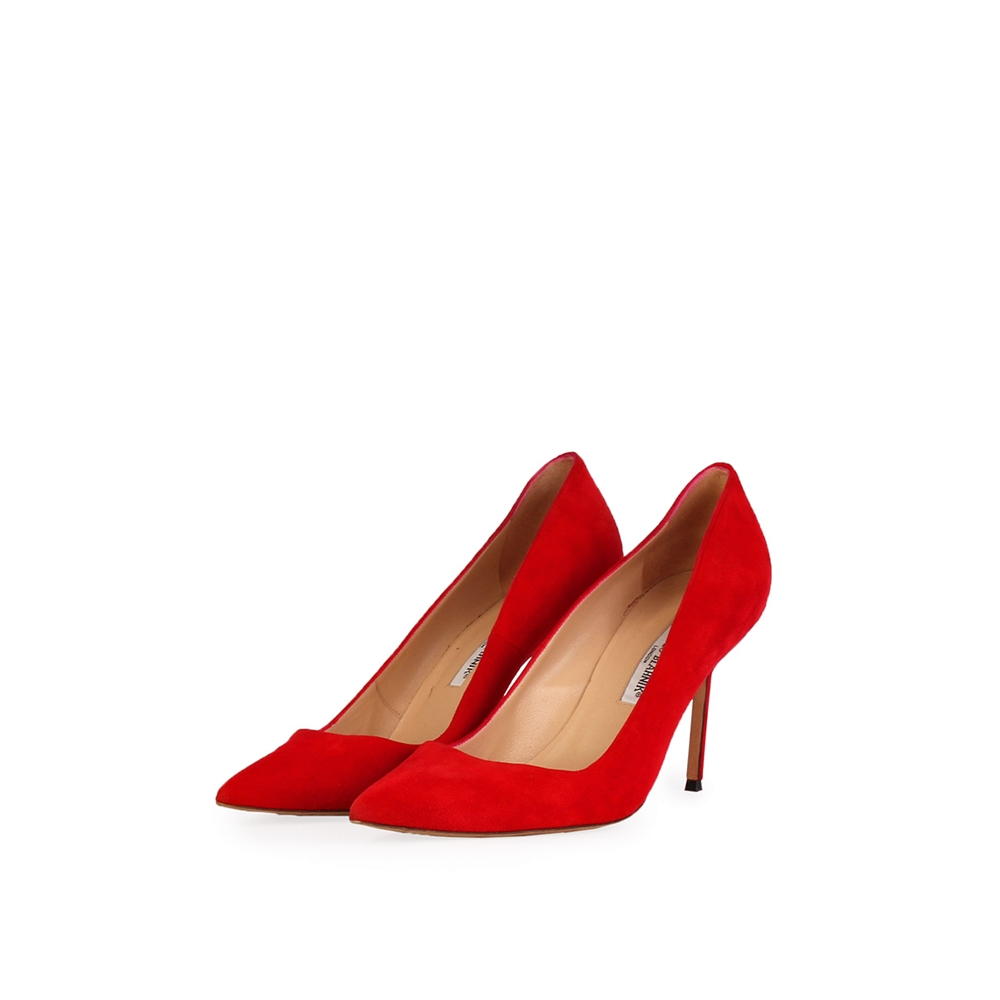 9d25660b7039d MANOLO BLAHNIK Suede BB Pointy Toe Pumps Red - S: 41 (7.5) | Luxity