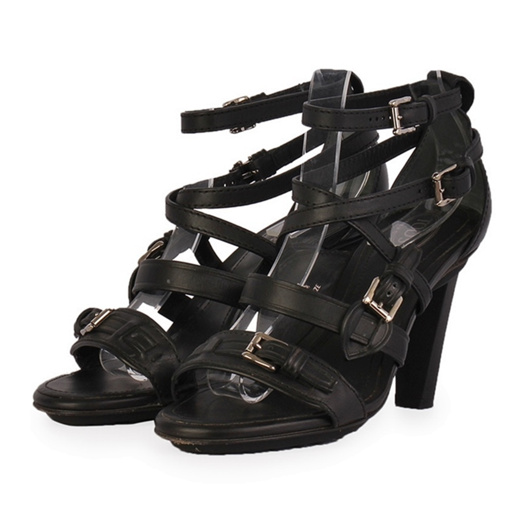 TOD'S Leather Strappy Heels Black – S