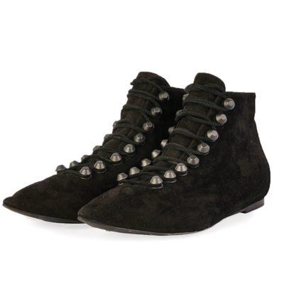 8a0d73ec619a BALENCIAGA Suede Point-Toe Lace-Up Ankle Boots Black – S  37 (4)