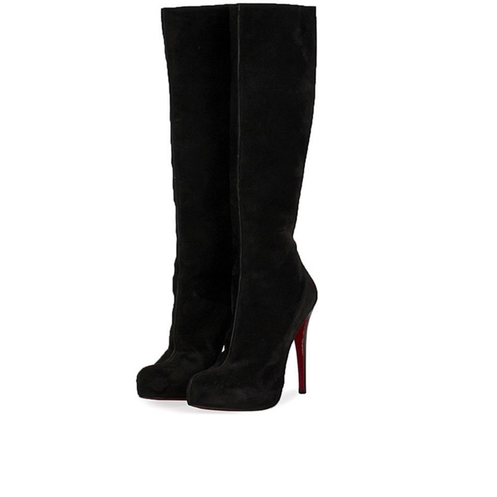 regarder 17e83 11e51 CHRISTIAN LOUBOUTIN Suede Fifi Knee High Boots Black – S: 40 (6.5)