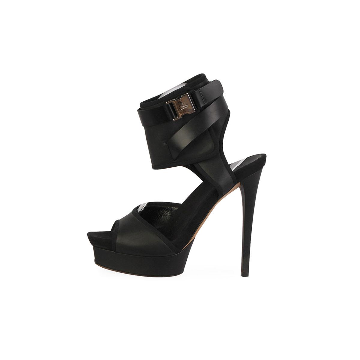 51664fd59b0 GUCCI Leather Gail Ankle Wrap Platforms Sandals Black – S  39.5 (6 ...