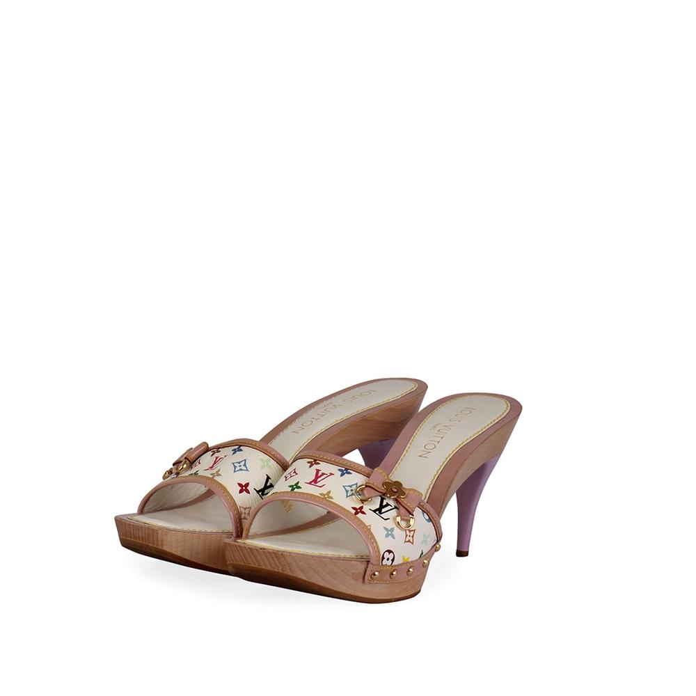 9bc99dac9e29 LOUIS VUITTON Multicolor Wood Platform Sandals White Lilac - S  39 ...