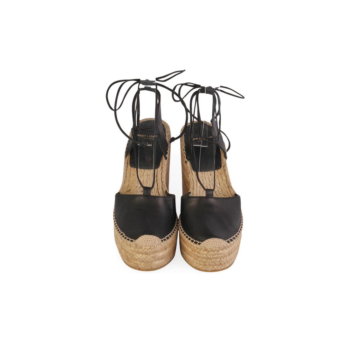 d4e7e51ec0d SAINT LAURENT Leather Espadrille Wedges Black - S: 38.5 (5.5) | Luxity