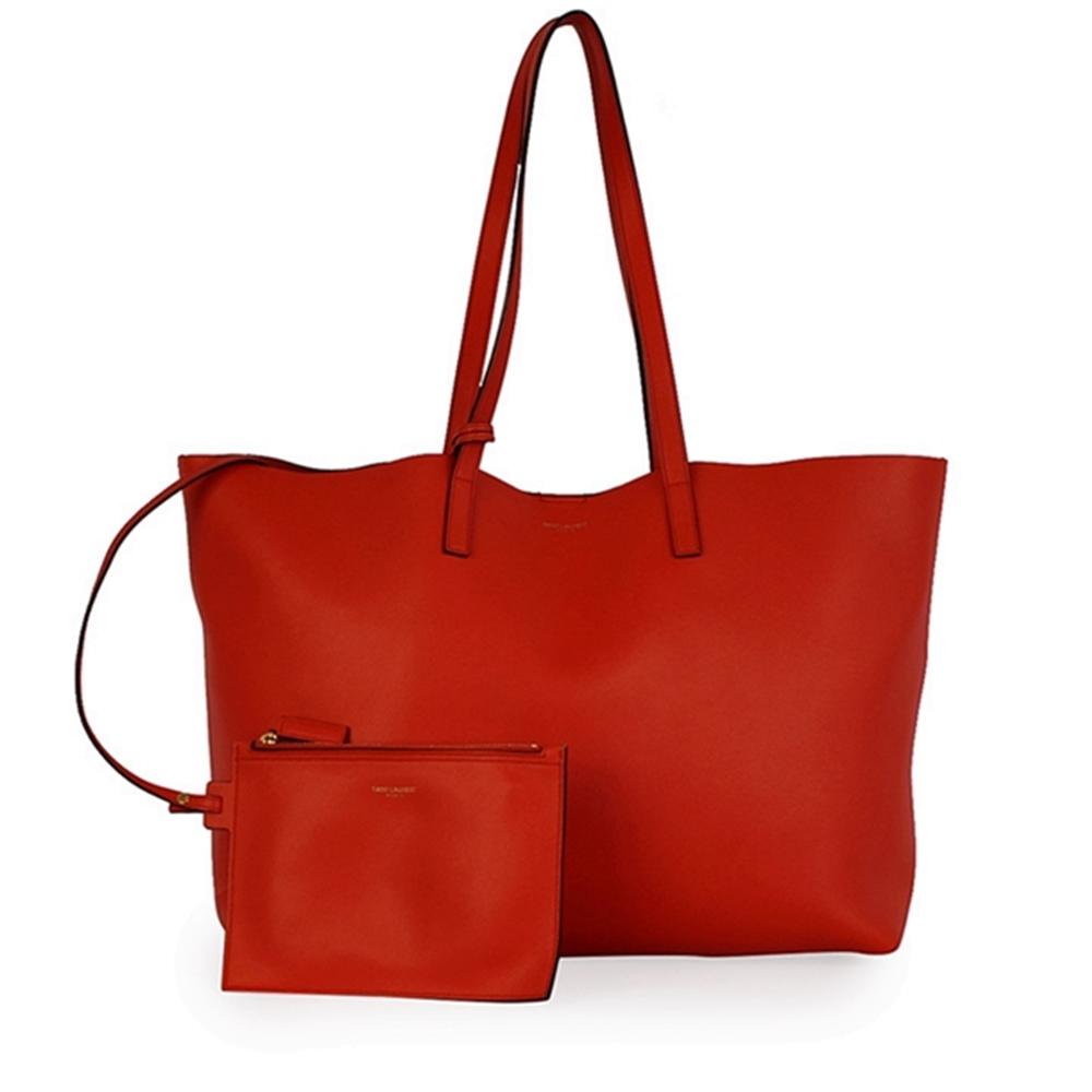 436e44c4ae9d3 YVES SAINT LAURENT Calfskin Leather Large Shopping Tote Orange