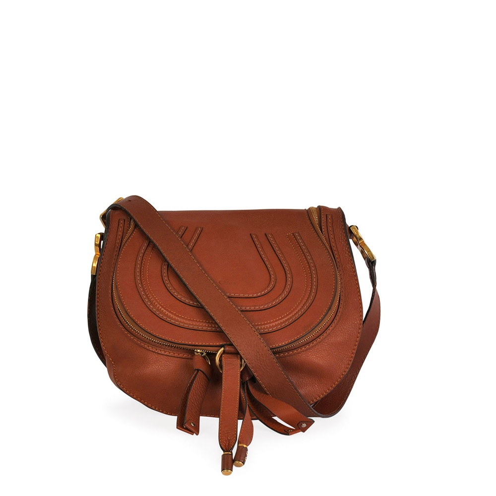 a0acdb3167d CHLOE Calfskin Medium Marcie Round Crossbody Bag Brown