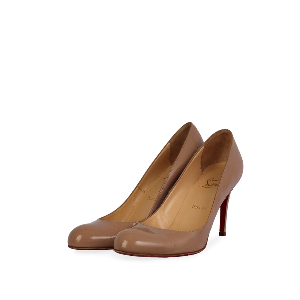 online store 08644 d5ae0 CHRISTIAN LOUBOUTIN Patent Decollete 100mm Pumps Nude - S:39.5 (6)