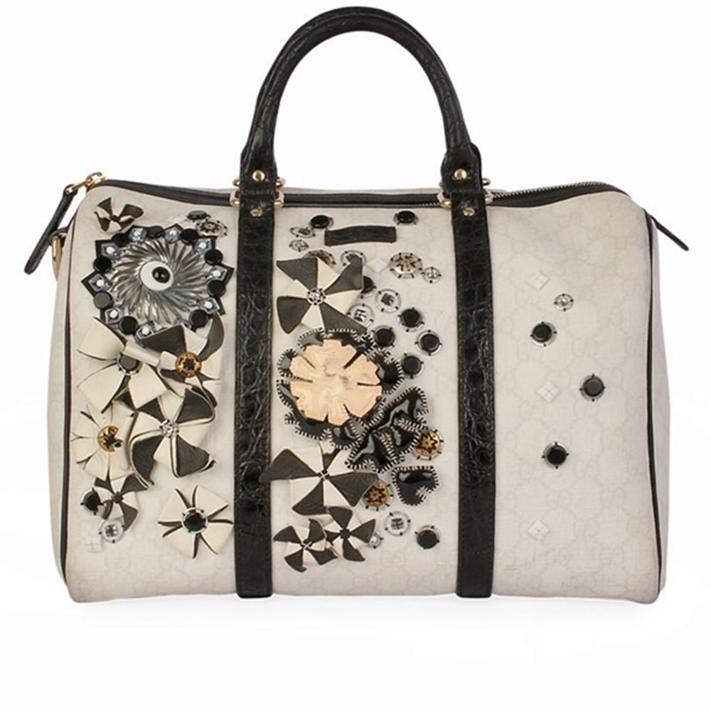 gucci gg floral applique medium joy boston bag white luxity