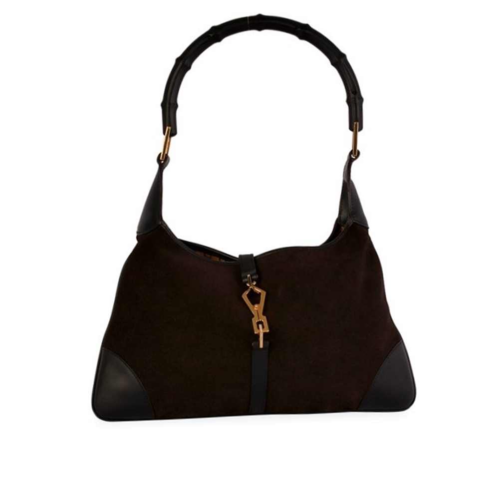 146d4c47988e GUCCI Jackie O Bamboo Handle Suede Leather Bag Brown Black