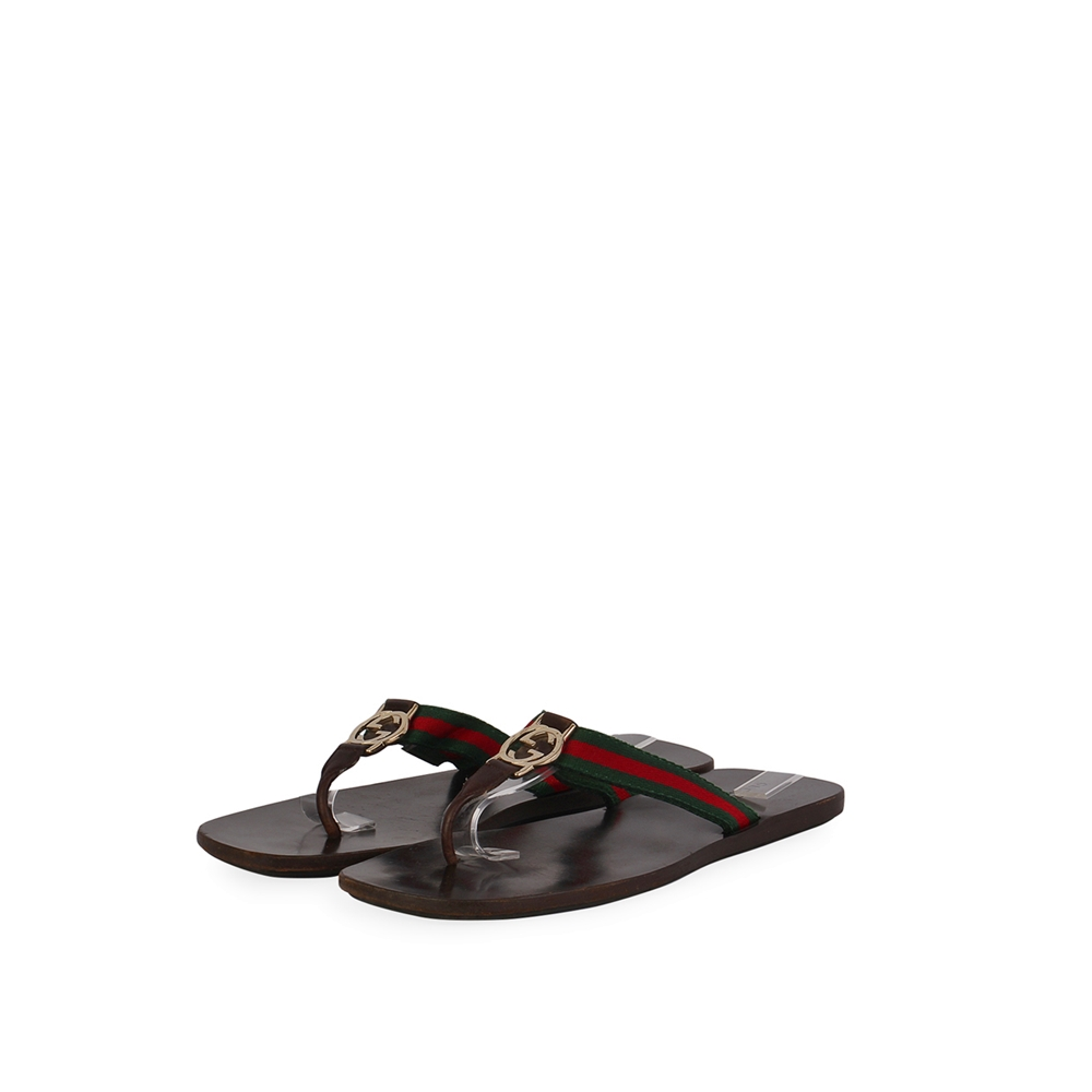 GUCCI Vintage Web GG Thong Sandals Brown - S  41 (7)