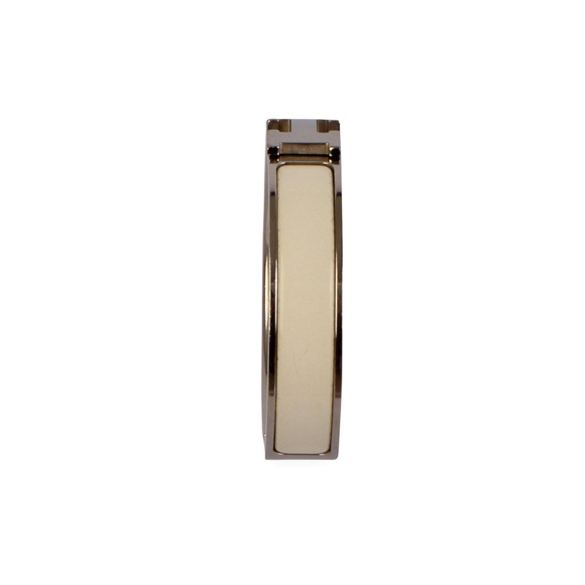 HERMES Clic Clac H Enamel Bracelet White   Luxity efbf095e3f0