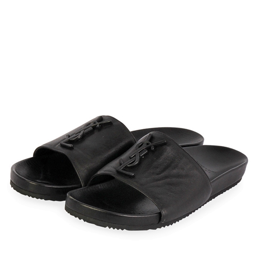 e688b8e9 YVES SAINT LAURENT Leather Slide Sandals Black - S: 39 (6)