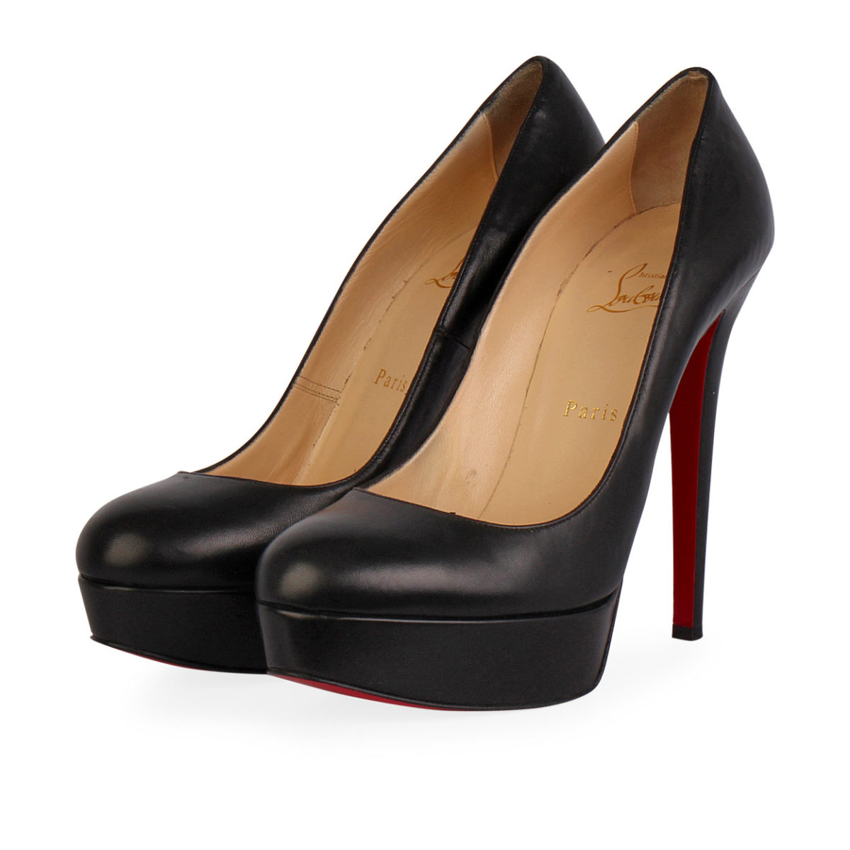 low priced 23582 c75de CHRISTIAN LOUBOUTIN Leather Bianca 140 Pumps Black - S: 39.5 (6)