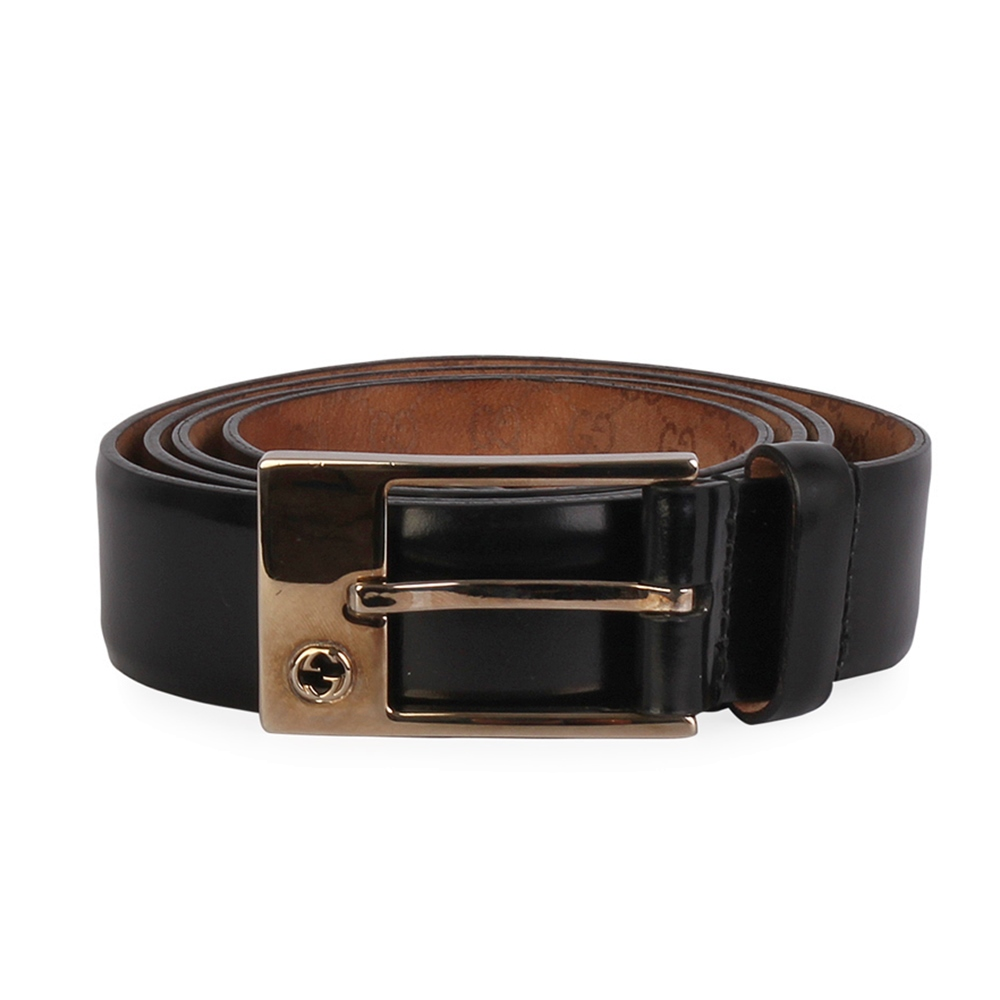 ff4c4ca405efa1 GUCCI Leather GG Logo Square Buckle Belt Black - S: 100 (40) | Luxity