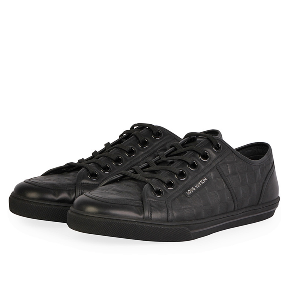 230737962dc2 LOUIS VUITTON Damier Embossed Leather Street Sneakers Black - S  46 ...