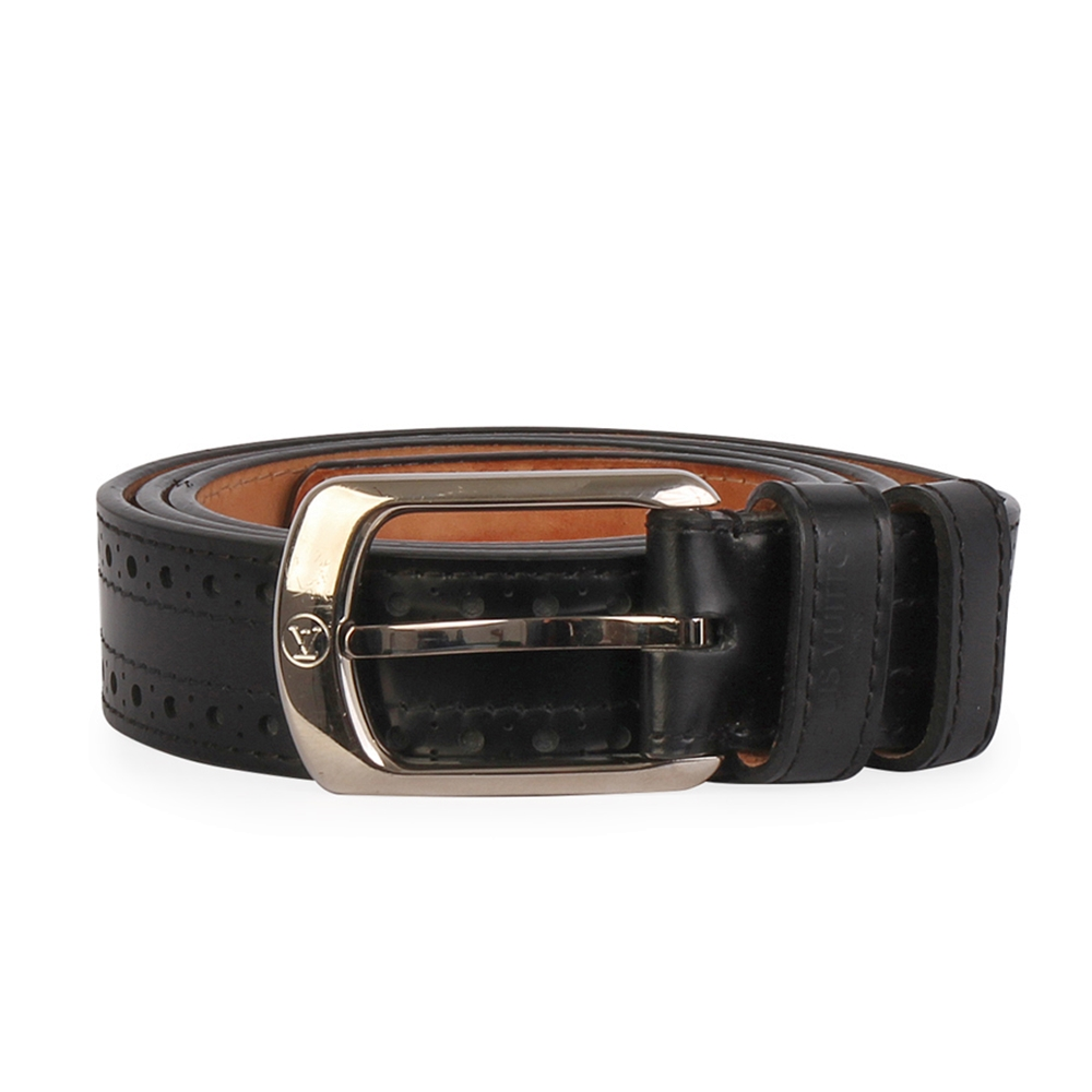 7fcab1ede131 LOUIS VUITTON Perforated Leather Belt Black - S  95 (38)