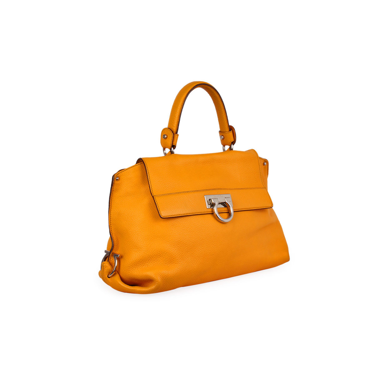 9ab4d8092c47 SALVATORE FERRAGAMO Pebbled Calfskin Leather Medium Sofia Bag Mustard