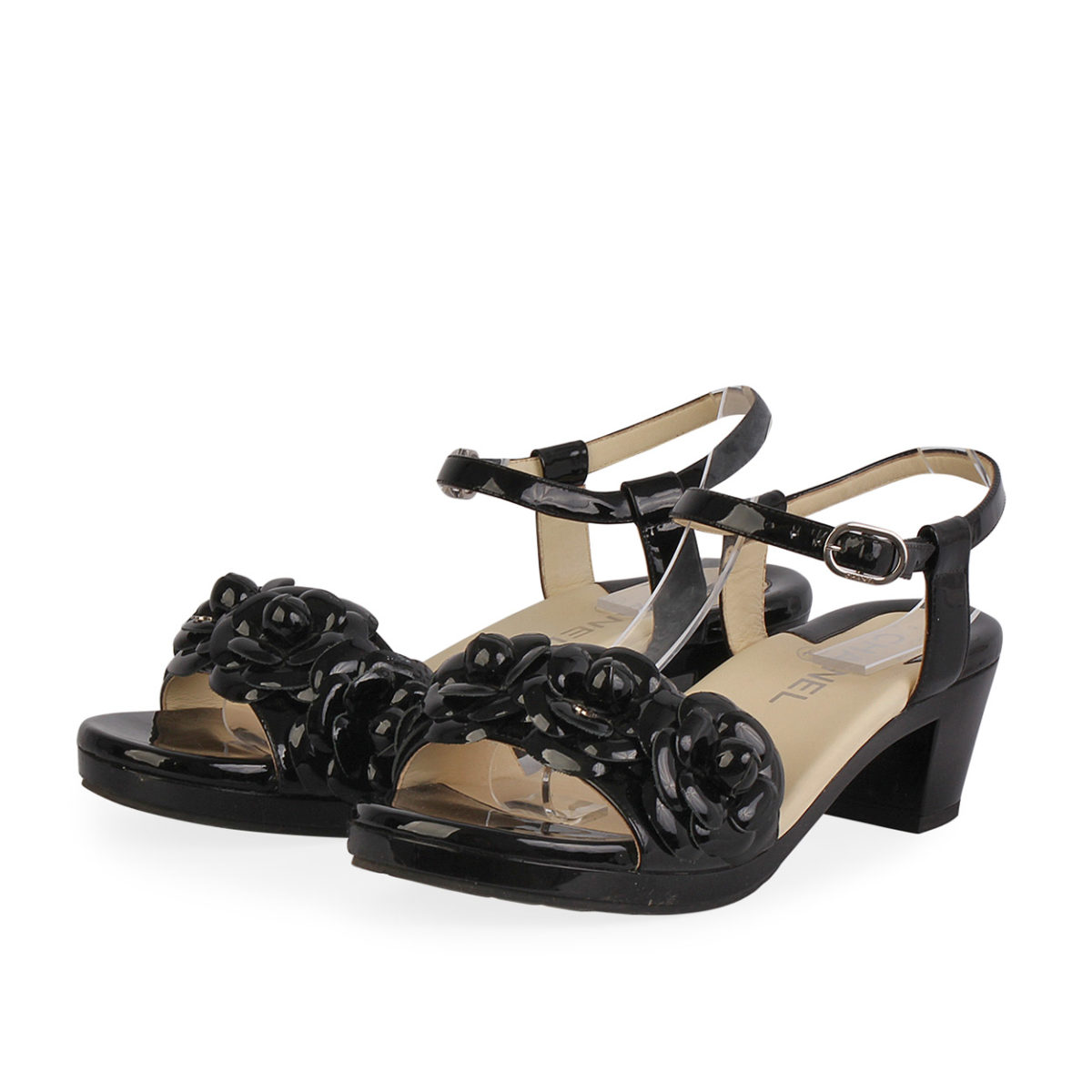 770b23b09be CHANEL Patent Leather Camellia Flowers Sandals Black - S  37.5 (4.5 ...