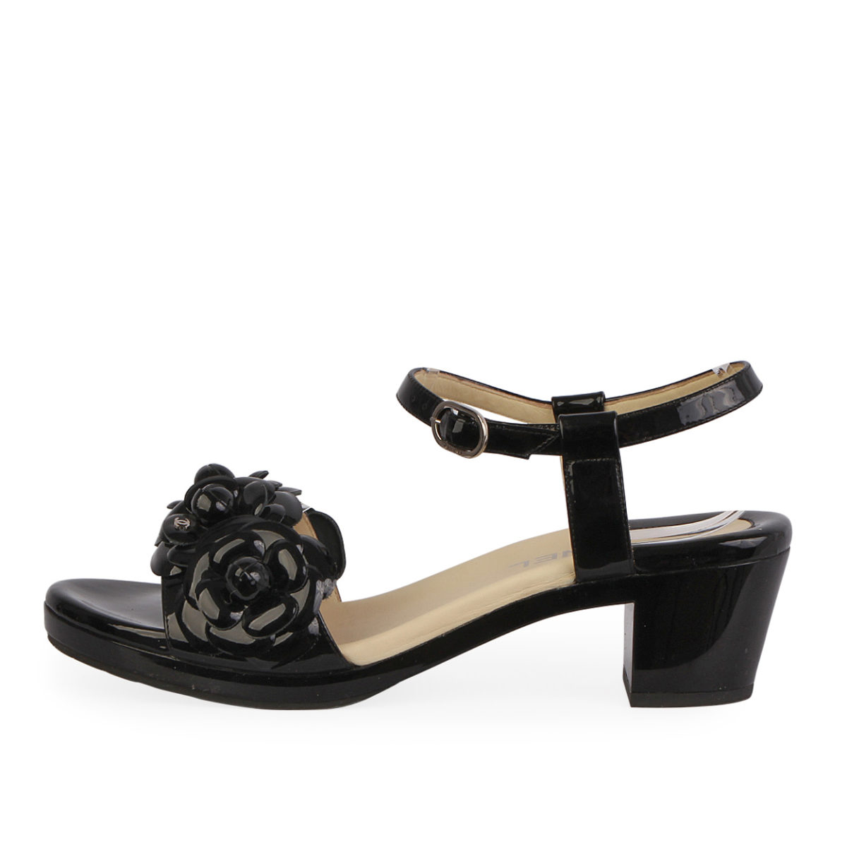 d61b70fc6ae CHANEL Patent Leather Camellia Flowers Sandals Black - S  37.5 (4.5 ...