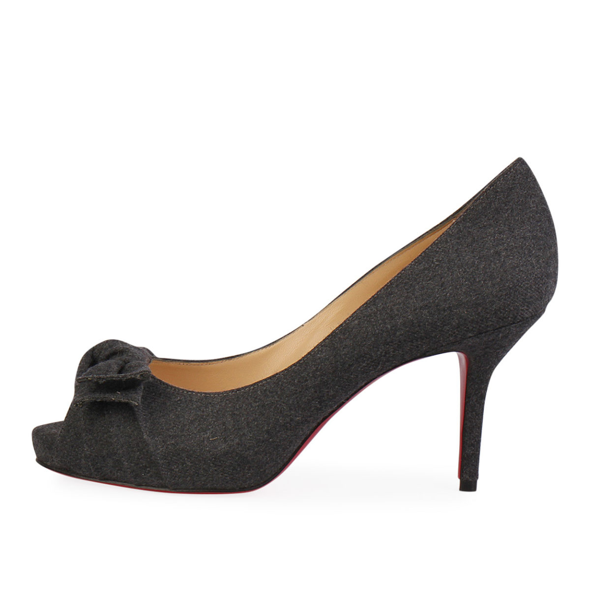 4c5c254310a CHRISTIAN LOUBOUTIN Flannel Madame Butterfly Pumps 85 Dark Grey - S ...
