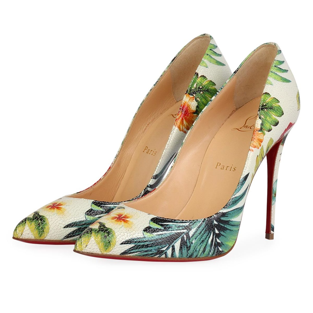best service ed319 433cd CHRISTIAN LOUBOUTIN Leather Hawaii So Kate 100 Pumps Floral - S: 38 (5) -  NEW