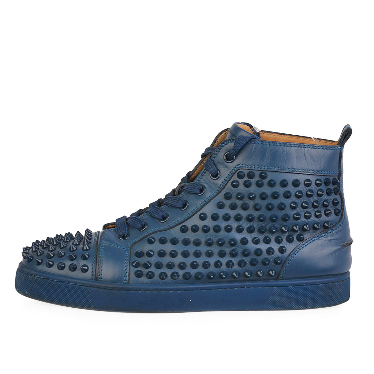 buy popular 9bbf7 d38df CHRISTIAN LOUBOUTIN Leather Louis High Top Spike Sneakers Blue S: 41 (7.5)