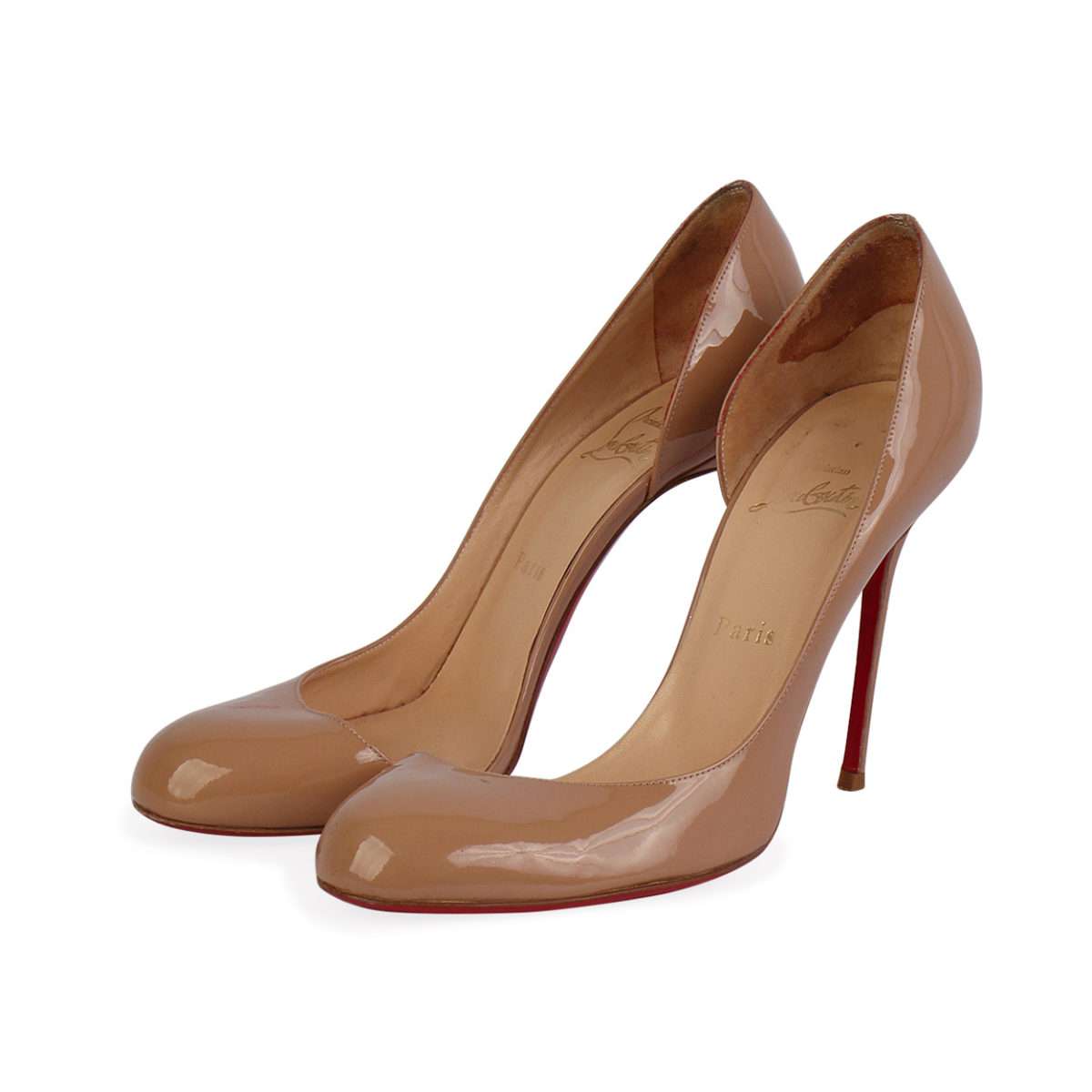 buy popular 4b834 af7ac CHRISTIAN LOUBOUTIN Patent Leather Helmour 110 Pumps Nude - S: 39.5 (6)