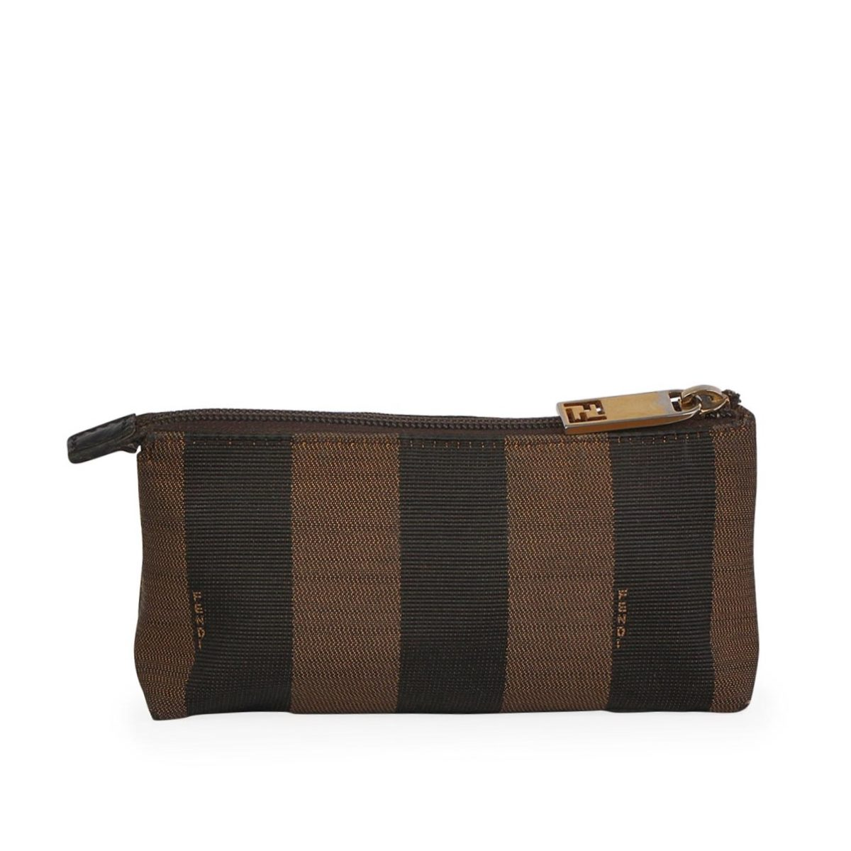 f814ae96263 FENDI Stripe Canvas Cosmetic Pouch Brown   Luxity