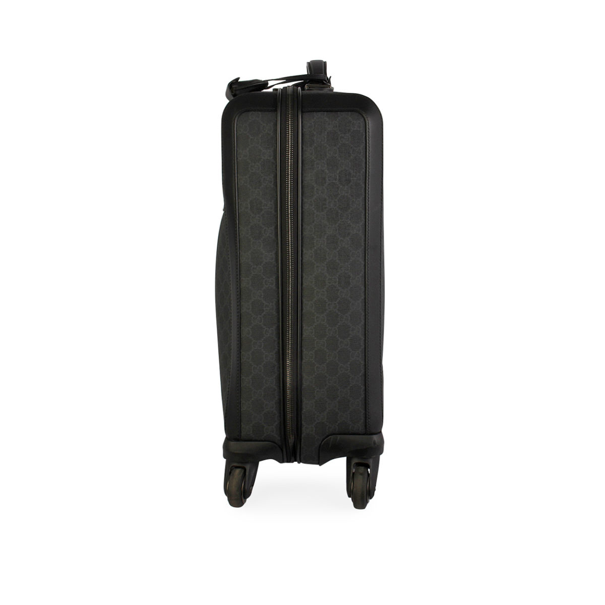 012e8a410ce409 GUCCI GG Supreme Four Wheel Carry On Suitcase Black | Luxity