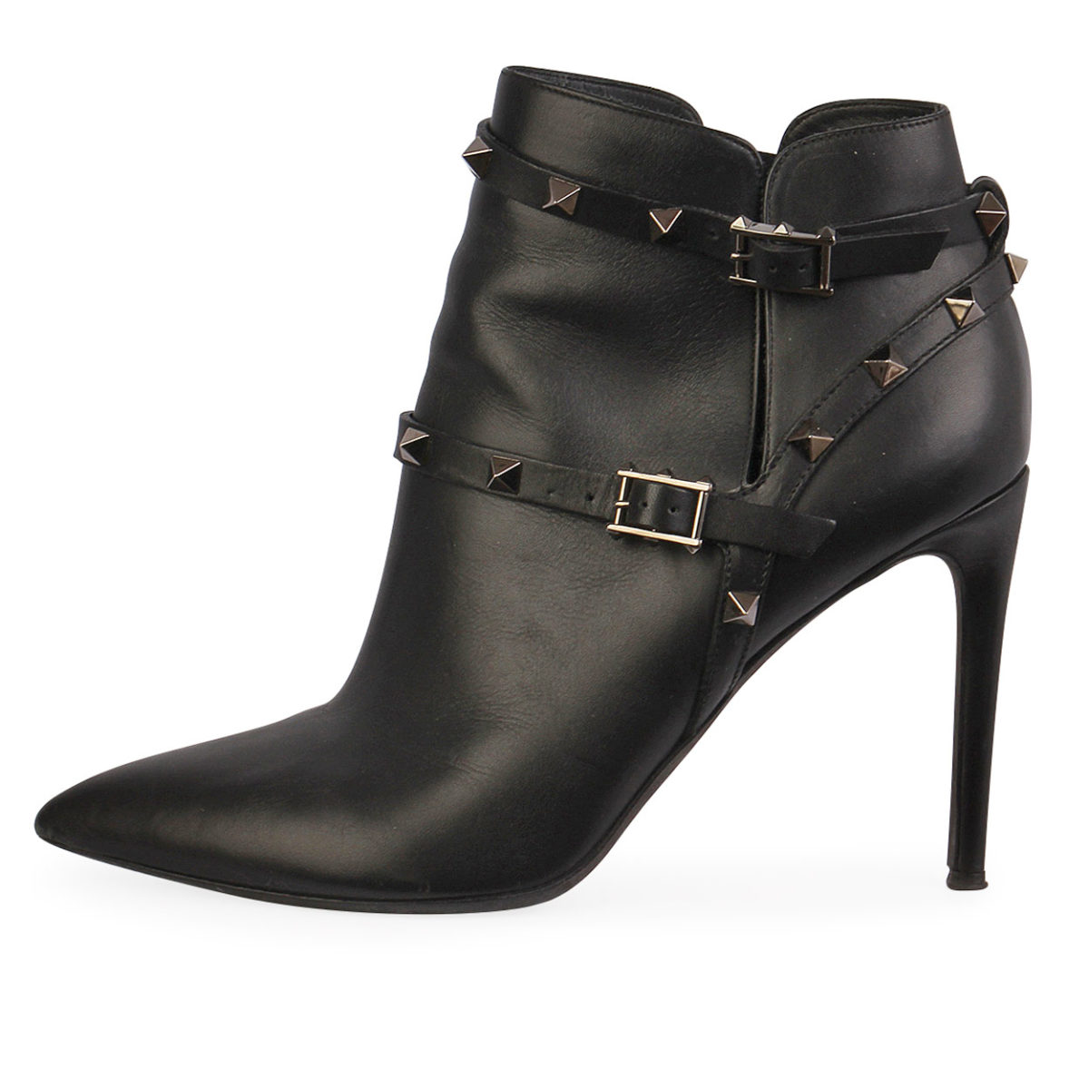 VALENTINO Leather Rockstud Ankle Boots Black - S: 39 5 (6)