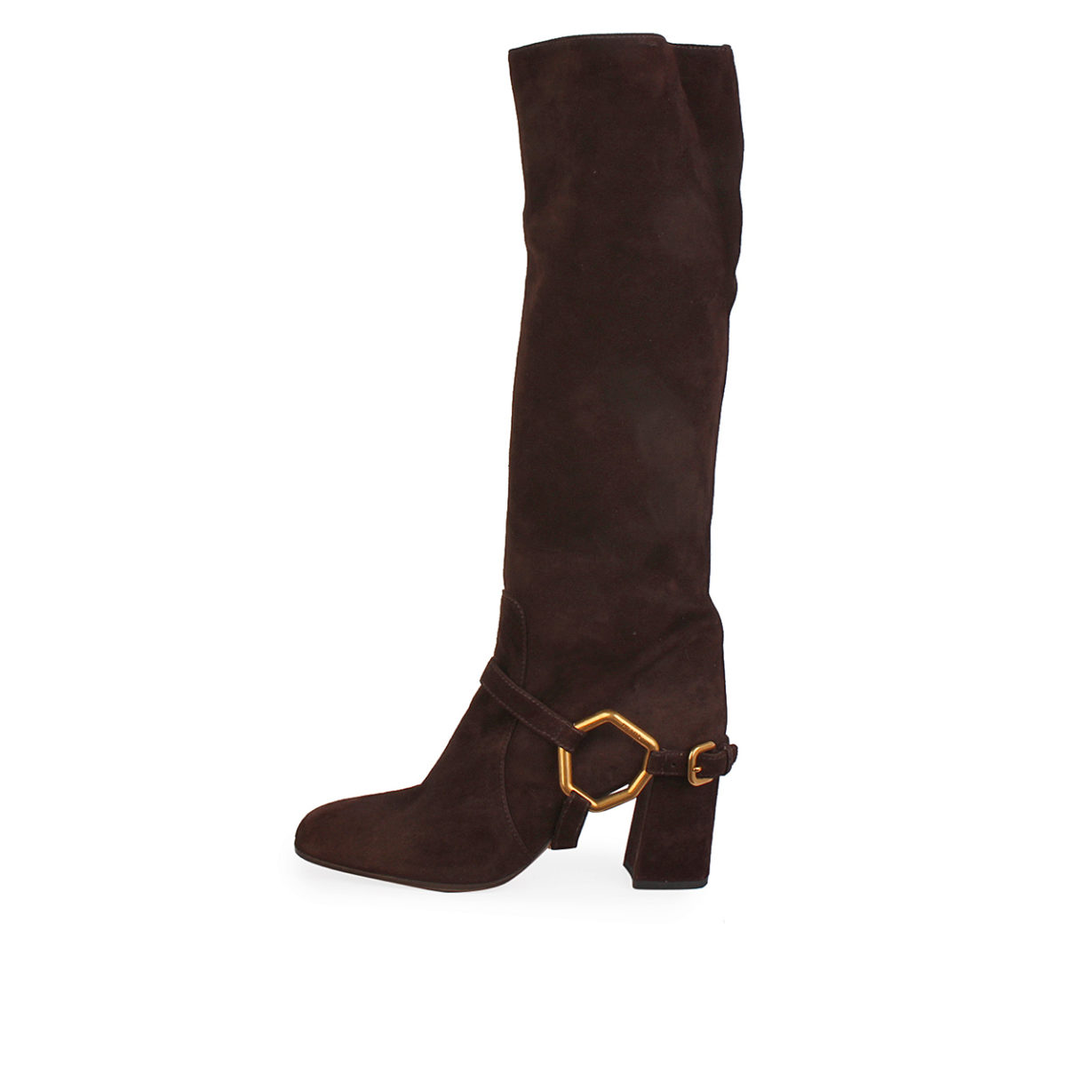 PRADA Suede Heeled Boots Brown - S  36 (3.5)   Luxity 90fb62e3b9f