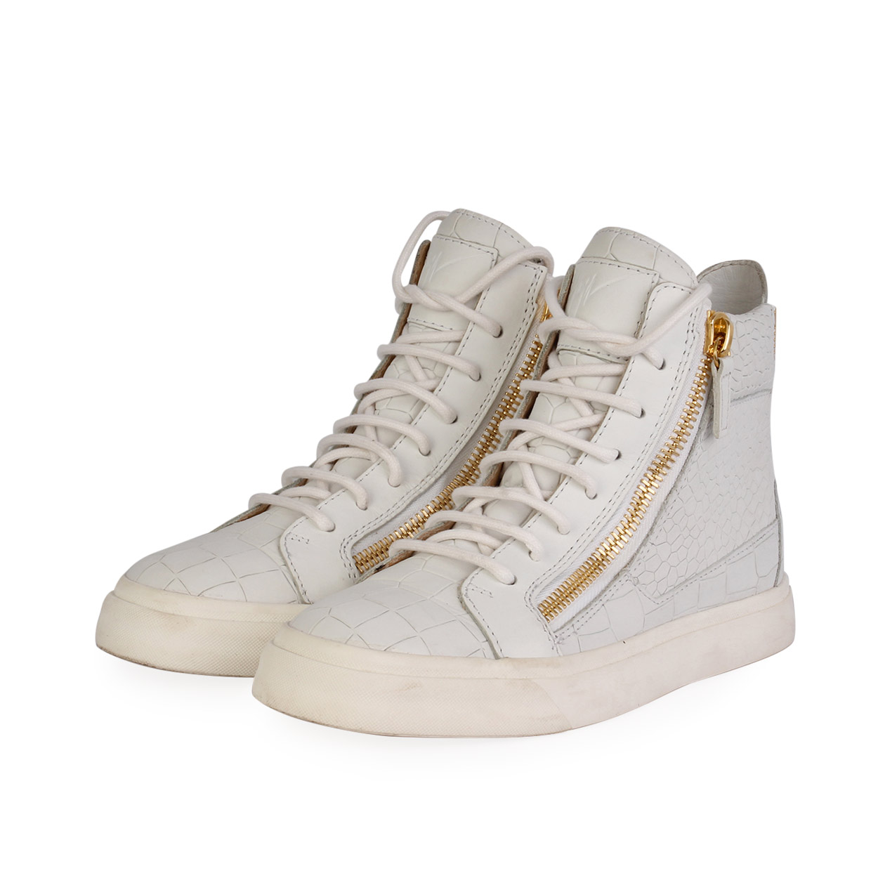 GIUSEPPE ZANOTTI Leather High Top Sneakers White - S: 36 ...