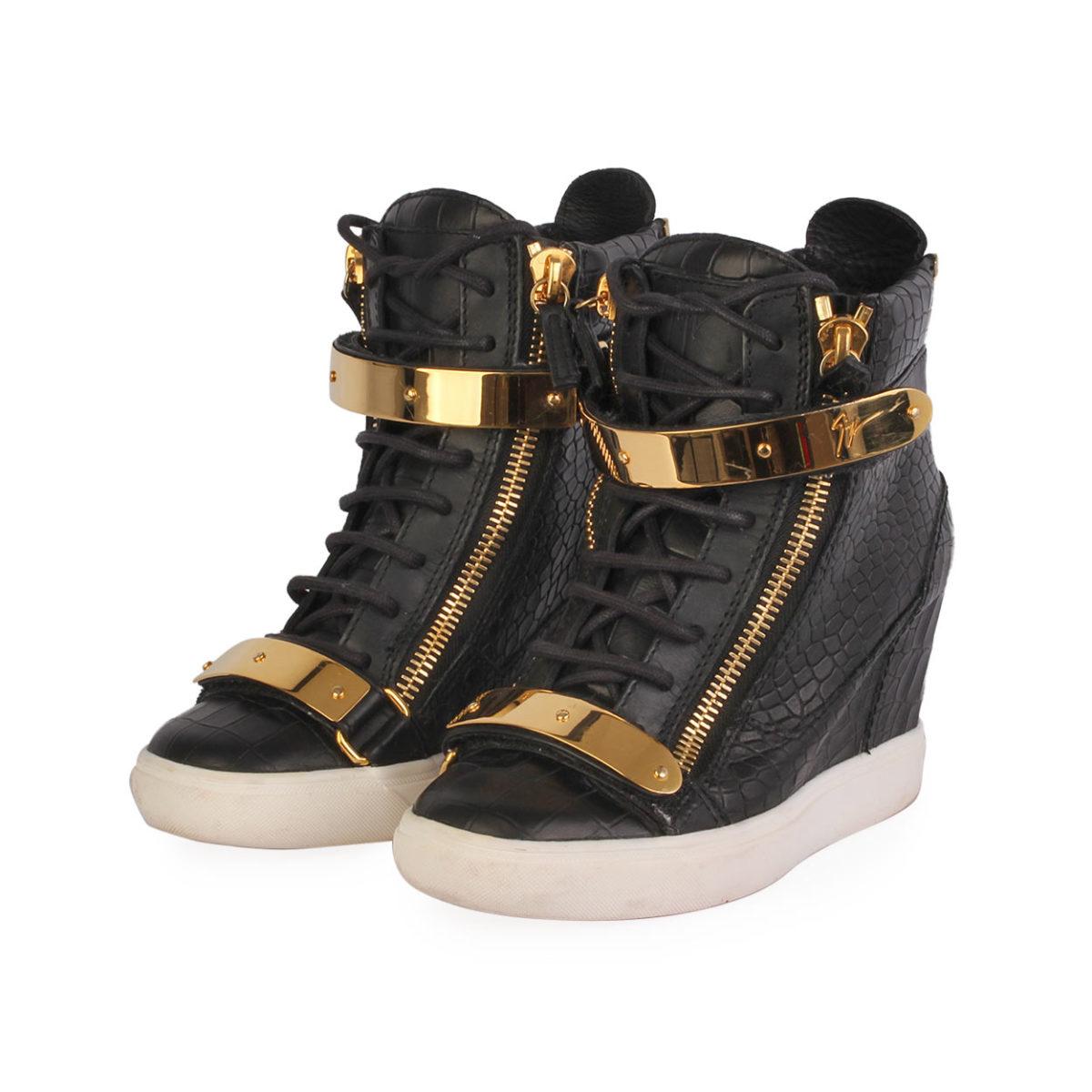 fbe42edad1c3 GIUSEPPE ZANOTTI Leather High Top Wedge Sneakers Black - S  37 (4 ...