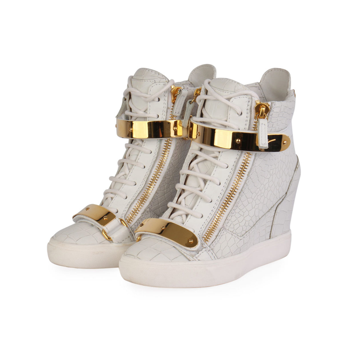 bc71d3c26ac38 GIUSEPPE ZANOTTI Leather High Top Wedge Sneakers White - S: 37 (4 ...