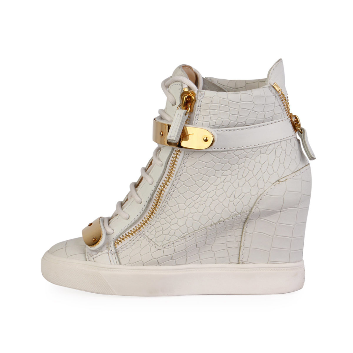 5d7c95c7fabf GIUSEPPE ZANOTTI Leather High Top Wedge Sneakers White - S  37 (4 ...