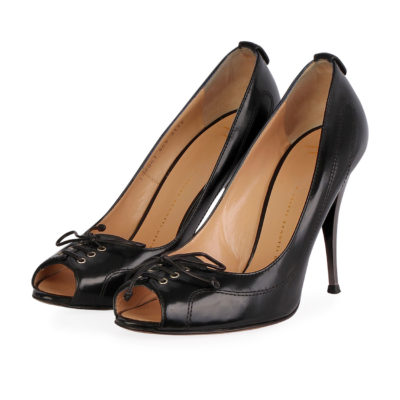 d2e5235b46a GIUSEPPE ZANOTTI Leather Open Toe Pumps Black – S  40.5 (7)