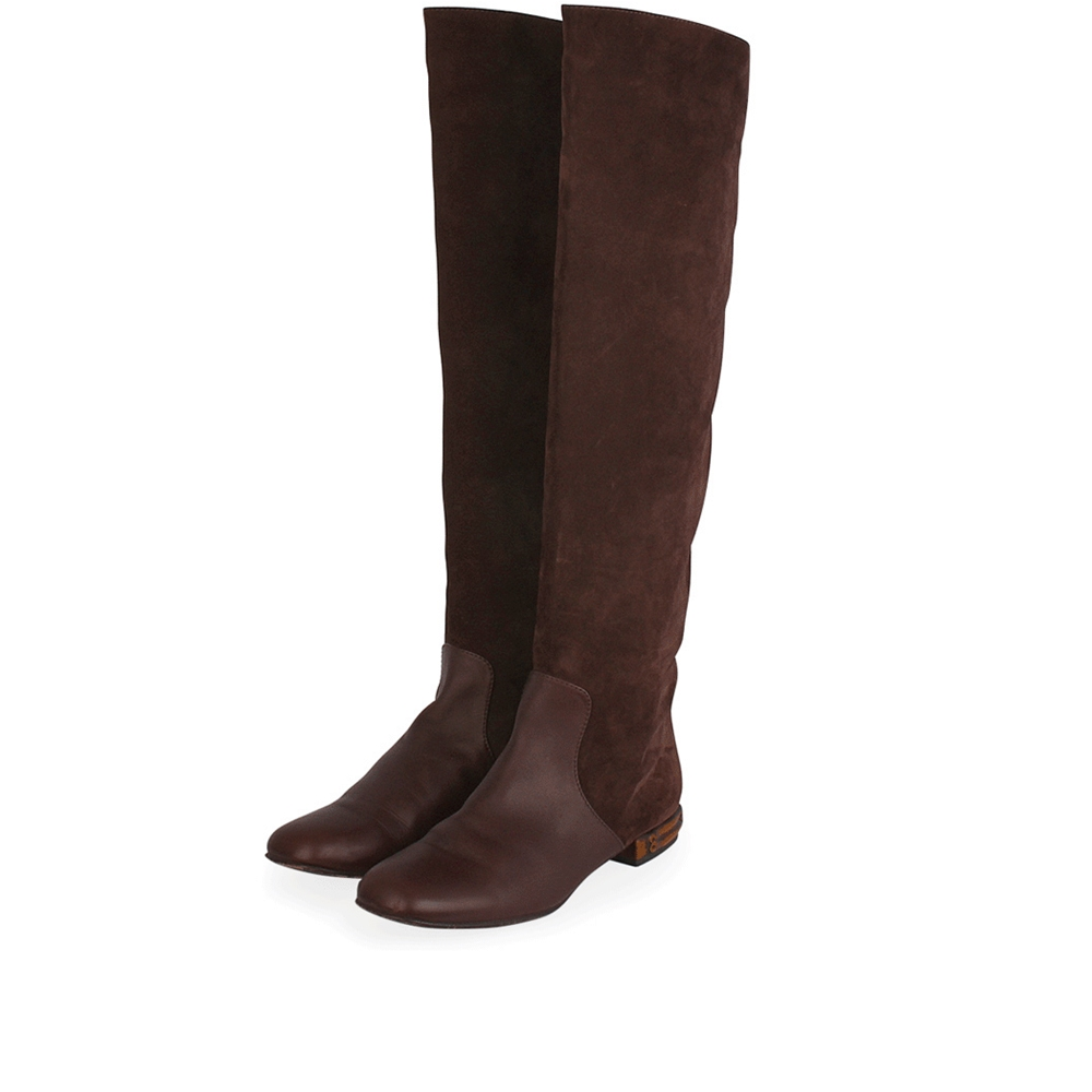 7aa96e434c5 GUCCI Suede Bamboo Heel Knee High Boots Brown - S  41 (7.5)
