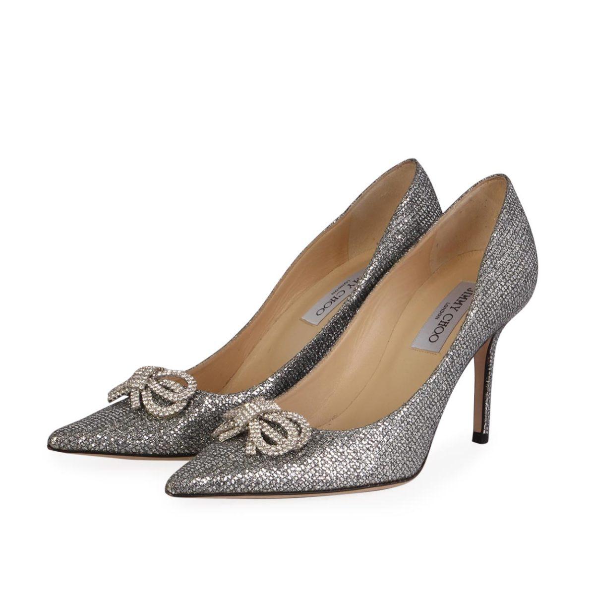 9a6a6ca2c1fe JIMMY CHOO Samba Jewel Bow Pumps Silver Glitter - S  40 (6.5) - NEW ...