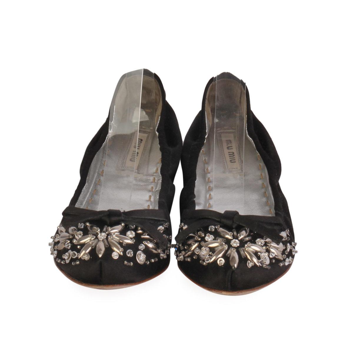 7e3be9aee0c MIU MIU Satin Crystal Embellished Ballet Pumps Black - S  38.5 (5.5 ...
