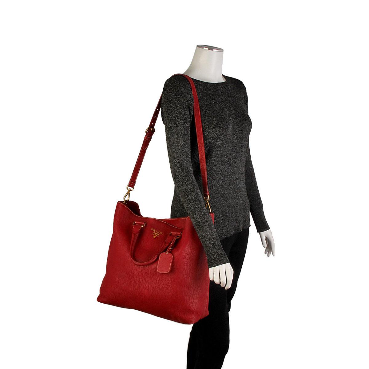1b11c85bf6ae PRADA Vitello Daino Large Shopper Tote Red | Luxity