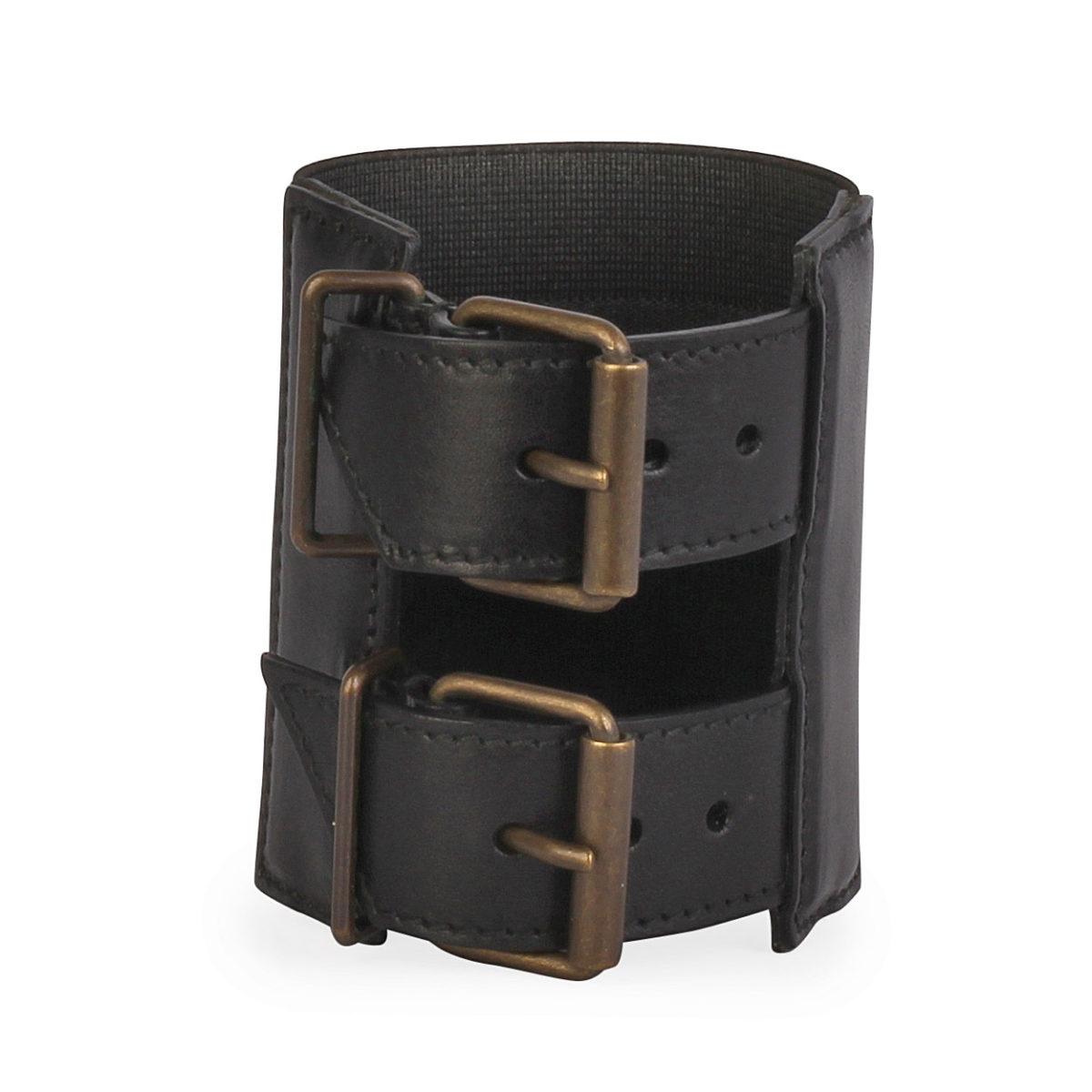 378c343583 YVES SAINT LAURENT Leather Double Buckle Cuff Bracelet Black