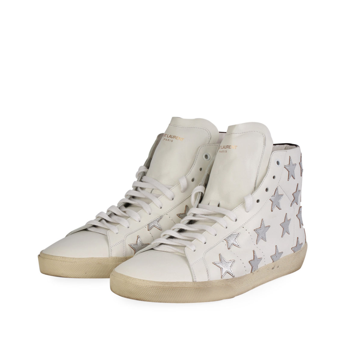 d9d3c14814a YVES SAINT LAURENT Leather Star Patch High Top Sneakers White - S ...