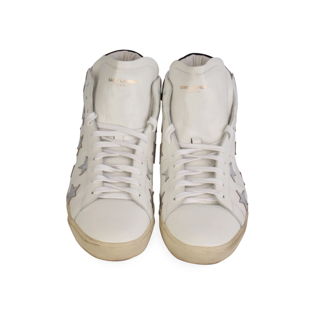 c2bad7990a994 YVES SAINT LAURENT Leather Star Patch High Top Sneakers White – S  ...