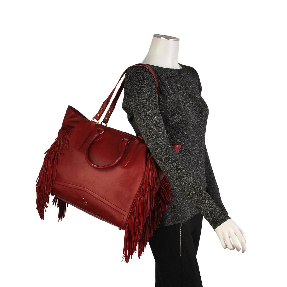 b9ce3bd826 CHRISTIAN LOUBOUTIN Justine Fringe Tote Red | Luxity